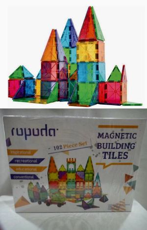 NEW IN BOX 102 PC Magnetic Clear Tiles Creative Building Engineering Builder Educational Tile Toy Set for Sale in Whittier, CA
