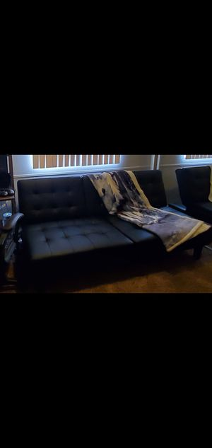Black faux leather futon with cupholders for Sale in Corona, CA