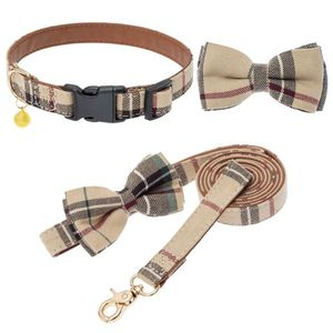 Beige Plaid Collar And Leash Set-Small for Sale in Rancho Cucamonga, CA