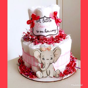 """A Little Peanut is On Her Way"" Creative Elephant Diaper Cake for Sale in Virginia Beach, VA"