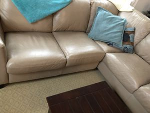 Tan leather sectional couch for Sale in Cambridge, MA