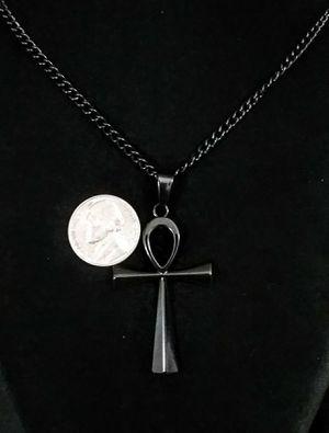 Hieroglyph Cross Pendant Black Stainless Steel New for Sale in Glendale, AZ