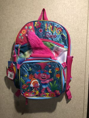 New Trolls Backpack with bonus lunch bag for Sale in Dayton, TX