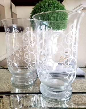 Beautiful SET = 2 Tall Glass Hurricane Candle Holder Vase Decorative Vessel for Sale in Monterey Park, CA
