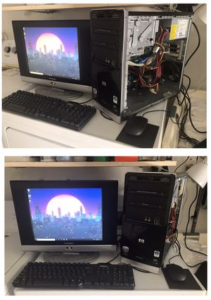 Computer Desktop HP Pavilion windows 10 Dual Core AMD 2.5 Ghz 250 Gb HARD DRIVE 3GB Ram MISSING PC BOX COVER PANEL SEE PICS Works Good HABLO ESPANOL for Sale in Las Vegas, NV