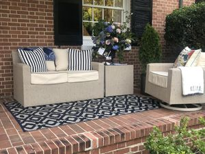 Suncoast Outdoor Furniture: loveseat, end table and rocking swivel chair for Sale in Frederick, MD