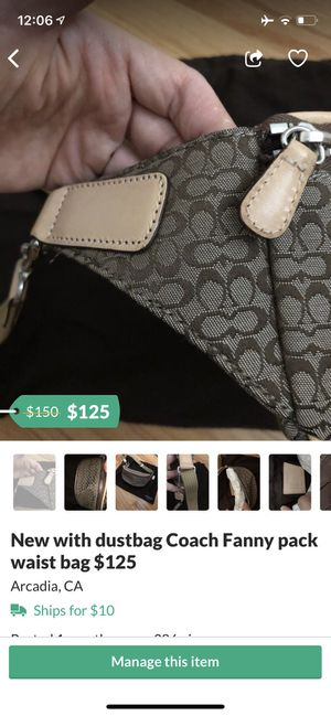 New with dustbag Coach Fanny pack waist bag $125 for Sale in Temple City, CA
