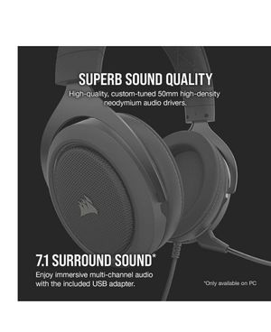 Corsair HS60 Pro – 7.1 Virtual Surround Sound PC Gaming Headset w/USB DAC - Headphones – Compatible with Xbox One, PS4, and Nintendo Switch – Carbon for Sale in Ocoee, FL