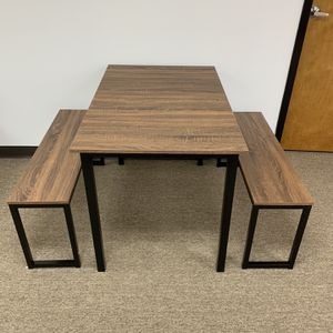 Modern Dining Table Set with 2 Benches, 3-Piece Set, Industrial Brown. for Sale in Duluth, GA