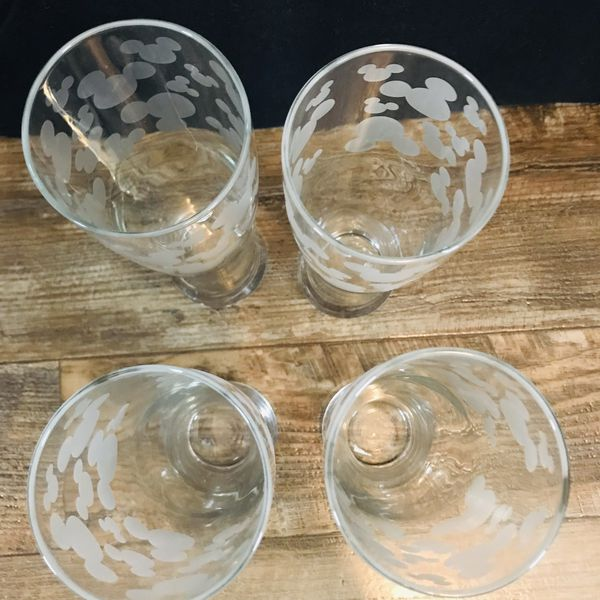 Disney Frosted Mickey Mouse Silhouettes 12oz Glasses