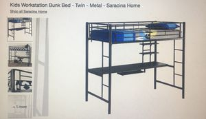 "Kids workstation Bunk Metal Twin Bed w/ Signature Sleep Memoir 8"" Twin Matress for Sale in Orlando, FL"