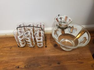 Vintage 1960s Mid Century Modern Chip and Dip Set w/ Matching Drinking Glasses for Sale in Sterling, VA