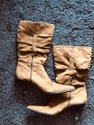 Brown suede mid calf boots low heel 9 for Sale in San Diego, CA