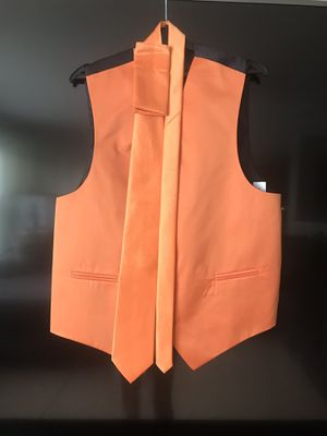 Orange and black vest and tie for Sale in Herndon, VA