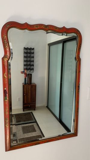 Antique Asian carved mirror with beveled glass for Sale in Seal Beach, CA