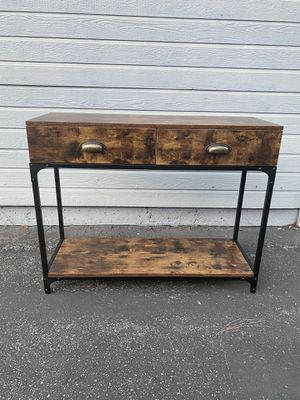 Industrial Console Table, Entryway Sofa Table with 2 Drawers and Shelf, Accent Storage with Sturdy Metal Frame, for Living Room, Rustic Brown for Sale in Corona, CA