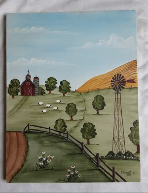 A vintage folk art farmscape Oil painting by artist J. Burkhart dated 1989 for Sale in Tacoma, WA