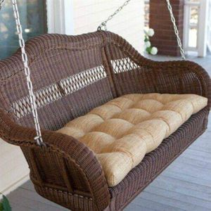 Walnut Brown All Weather Resin Wicker Porch Swing with Hanging Chain for Sale in Irvine, CA