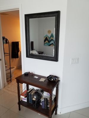 Brown wood wall mirror $40, brown end table $40 for Sale in Miami, FL