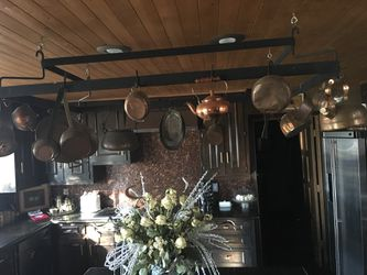 Huge Over the kitchen island Custom made pot & pan rack with copper pots and pans! for Sale in Plano,  TX
