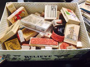 Box with 40 brand new rubber stamps for Sale in Ashburn, VA