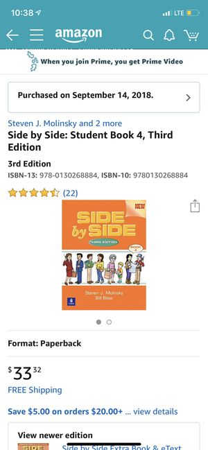 Side by side student book 4 , 3rd edition Steven J Molinsky for Sale in Cleveland, OH