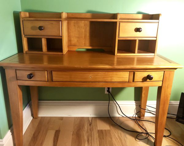 Wooden desk and hutch