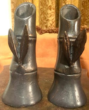 Gorgeous vintage heavy iron bronze cast sculptures - set 2 decorative candle holders H6.5xW2.5 inch for Sale in Sun Lakes, AZ