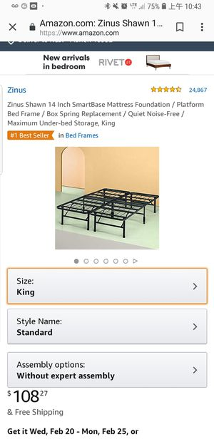 King size bed frame. Mattress sold separately for Sale in Marion, IN