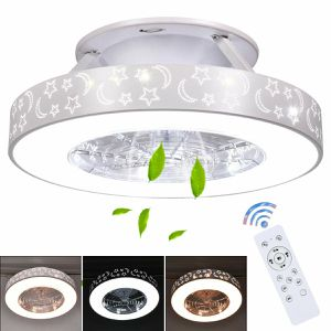 Indoor 23 inch Flush Mount Starry Sky Ceiling Fan w/ LED Light & Remote Control Home Appliances for Sale in Los Angeles, CA