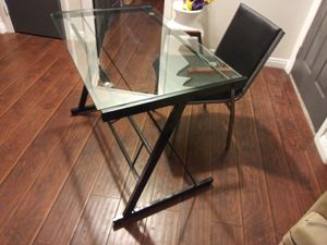 Metal & Glass Desk with Black Leather Chair for Sale in Henderson, NV