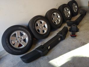 Jeep Wrangler. JK wheels, tires and bumpers tires are 255/75/17... for Sale in Kyle, TX