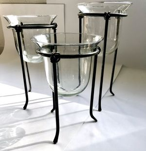 3 candle holders. Glass , black iron for Sale in Bellevue, WA