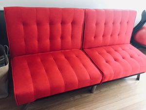 Barely used modern linen reclining sofa cum bed for Sale in Cambridge, MA