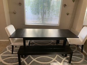 Black bench dinner table with 2 chairs for Sale in Laveen Village, AZ