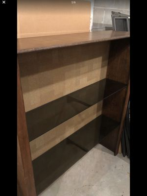 Brown Wooden and Glass Bookshelf for Sale in Burnsville, MN