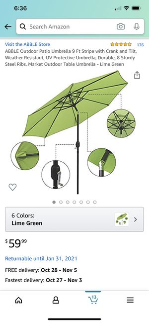 ABBLE Outdoor Patio Umbrella 9 Ft Stripe with Crank and Tilt, Weather Resistant, UV Protective Umbrella, Durable, 8 Sturdy Steel Ribs, Market Outdoor for Sale in Raleigh, NC