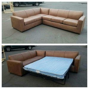 NEW 7X9FT CAMEL LEATHER SECTIONAL WITH SLEEPER COUCHES for Sale in Westminster, CA