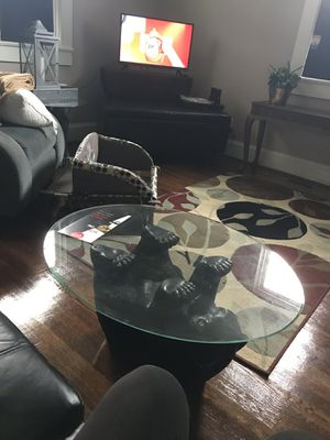 BEAR oval coffee table & 2 tree trunk glass top end tables for Sale in South Hill, VA