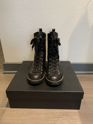 Kendall Kylie Women's KK Prime Combat Boots Black Leather - Size 6 for Sale in Los Angeles, CA