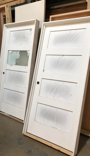 New interior modern doors four glass frosted Brand New Prehung with frame right hand for Sale in Los Angeles, CA