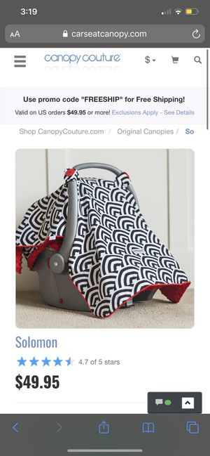 CANOPY COUTURE INFANT CAR SEAT COVER for Sale in Joliet, IL