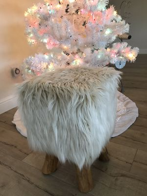 Farmhouse fuzzy foot rest ottoman makeup stool for Sale in Lodi, CA