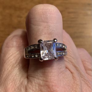 New CZ Clear Amethyst Silver Wedding Ring Size 9 for Sale in Palatine, IL