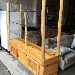 Heavy Duty Knotty Pine And Glass Open Display Case - Delivery Available for Sale in Tacoma,  WA