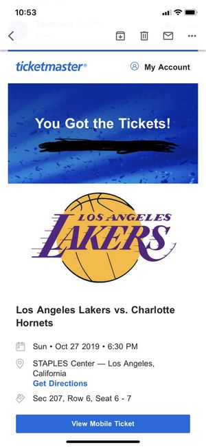 Lakers tickets 10/27 for Sale in Los Angeles, CA