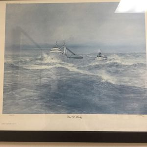 Vintage Print by John Cleary 552/750 Carl D Bradley From the Great Lakes History Art of 1976 for Sale in Port St. Lucie, FL