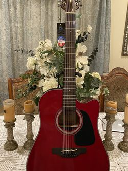 red takamine 12 string electric acoustic guitar with built in tuner for Sale in Bell,  CA