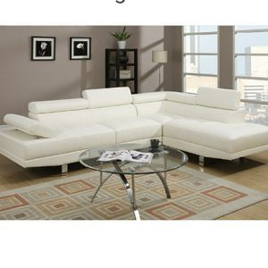 White Bonded Leather Sofa Sectional Couch for Sale in South Gate, CA