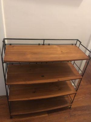 Pottery barn wood wrought iron folding shelf bookshelves for Sale in New York, NY
